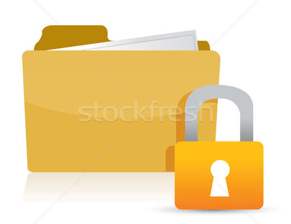 Yellow folder and lock illustration design over white Stock photo © alexmillos