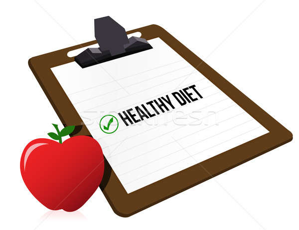 Clipboard with marked checkbox 'Diet' and apple  Stock photo © alexmillos