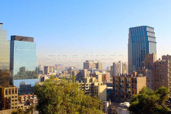 Santiago Chile panorâmico ver linha do horizonte centro Foto stock © alexmillos