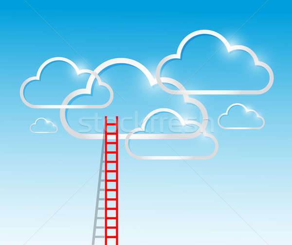 ladder to the clouds concept illustration design Stock photo © alexmillos