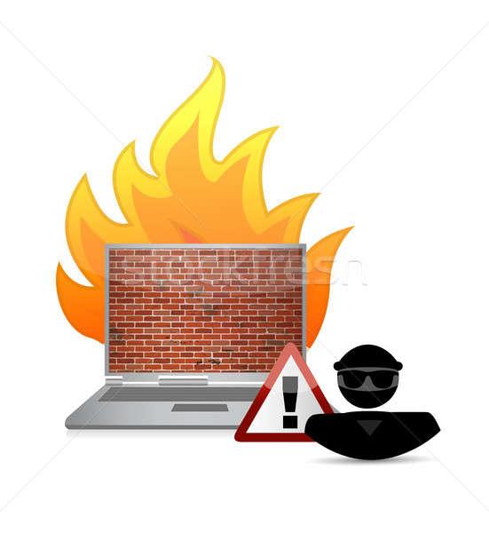 Hacker ognia ściany bezpieczeństwa ostrzeżenie ilustracja Zdjęcia stock © alexmillos
