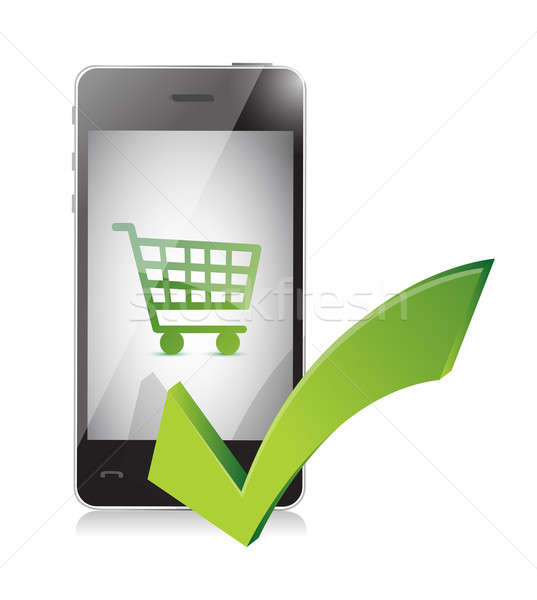 online shopping basket on a mobile phone Stock photo © alexmillos