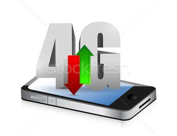 Smartphone 4g verbinding illustratie ontwerp witte Stockfoto © alexmillos