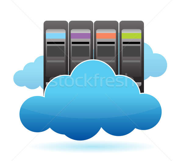 Serwerów chmury ilustracja projektu biały serwera Zdjęcia stock © alexmillos