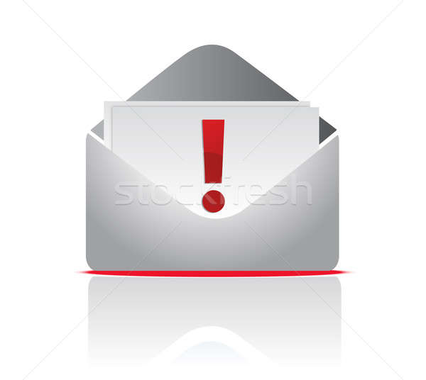 icon mail envelope with exclamation sign over a white background Stock photo © alexmillos