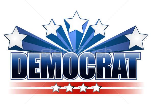 Demokrata felirat ház buli csillagok fehér Stock fotó © alexmillos