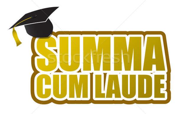 Summa cum laude graduation sign illustration design Stock photo © alexmillos