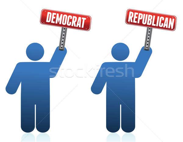 демократ республиканский иконки иллюстрация белый дизайна Сток-фото © alexmillos