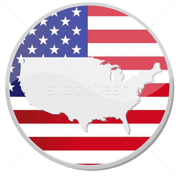 Düğme stil afiş Amerika Birleşik Devletleri Amerika harita Stok fotoğraf © alexmillos