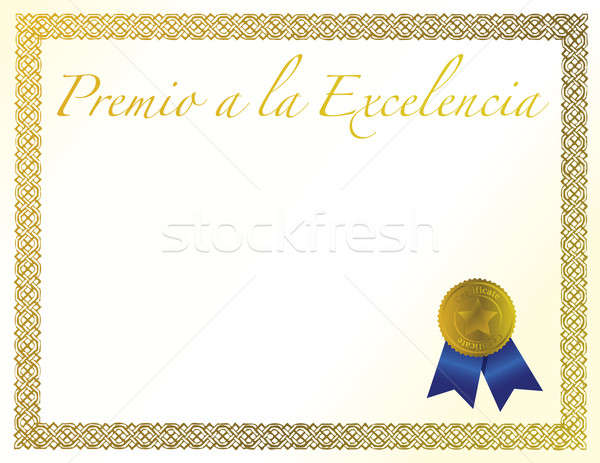 Spanish Award of Excellence with golden ribbon. Stock photo © alexmillos