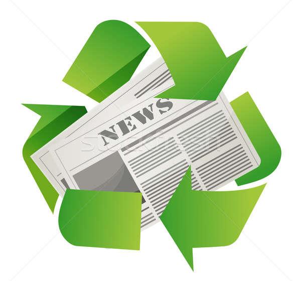 Recycleren krant ontwerp witte teken groene Stockfoto © alexmillos
