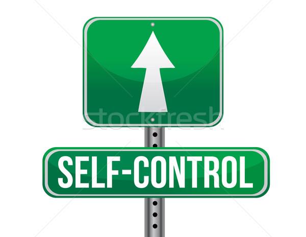 self control road sign illustration design over a white backgrou Stock photo © alexmillos