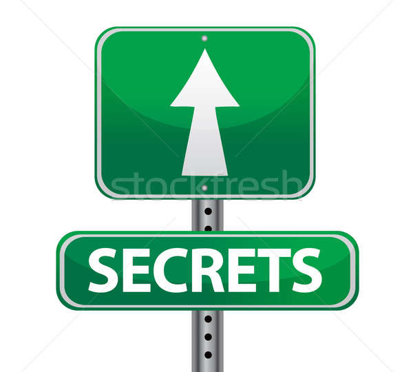 secrets street sign illustration design over white Stock photo © alexmillos