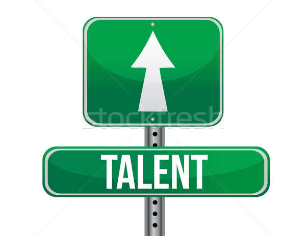talent traffic road sign illustration design over white Stock photo © alexmillos