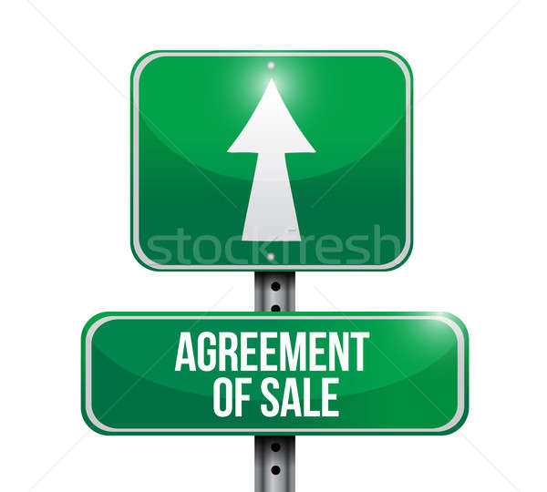 agreement of sale road sign illustrations design over white Stock photo © alexmillos