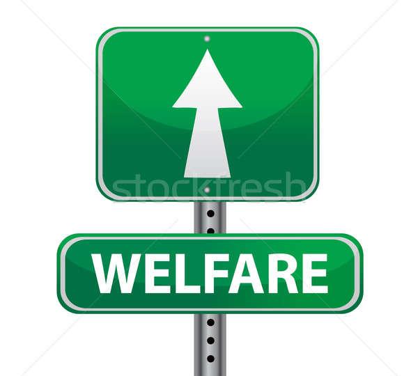 welfare green sign illustration design over white Stock photo © alexmillos