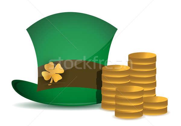 coins and saint Patricks hat illustration design over white Stock photo © alexmillos