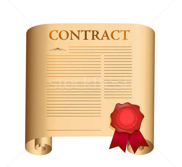 Contract oude scroll nat zegel illustratie Stockfoto © alexmillos