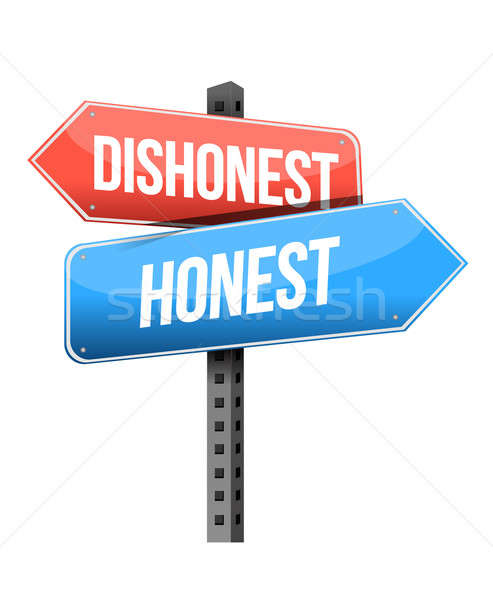 dishonest, honest road sign illustration design over a white bac Stock photo © alexmillos