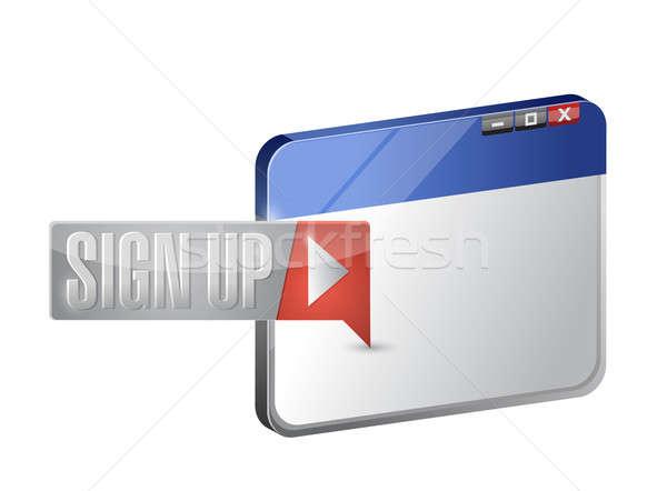 ストックフォト: にログイン · アップ · 今 · ボタン · ブラウザ · 実例