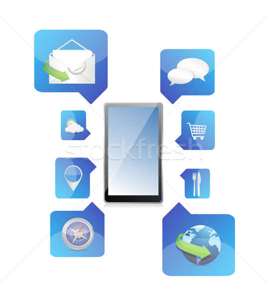 Smartphone application icons illustration design over a white ba Stock photo © alexmillos