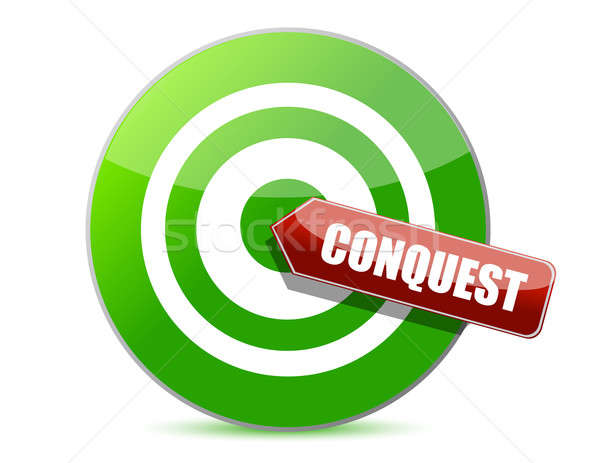 green conquest darts target aim on white background Stock photo © alexmillos