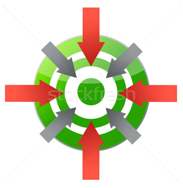 target pointing to center illustration design over white Stock photo © alexmillos