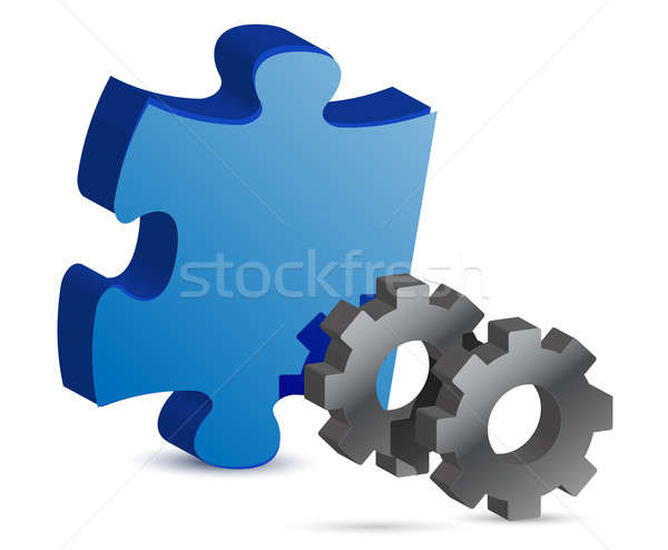 puzzle piece and gear illustration design over white Stock photo © alexmillos