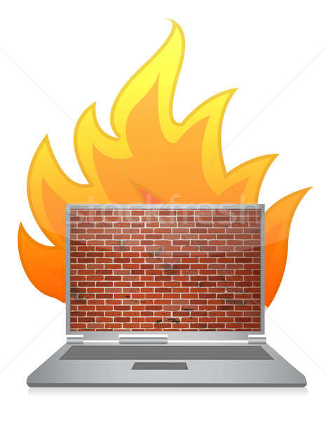 laptop firewall illustration design concept over white Stock photo © alexmillos