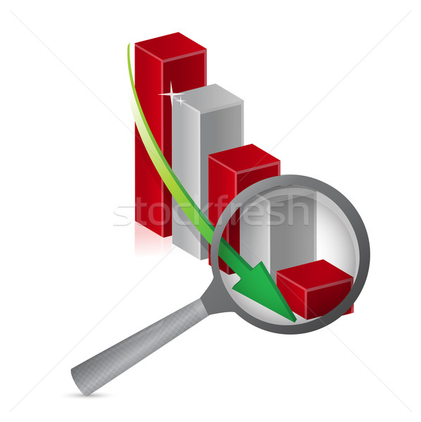 negative graph loupe with magnifying glass illustration design Stock photo © alexmillos