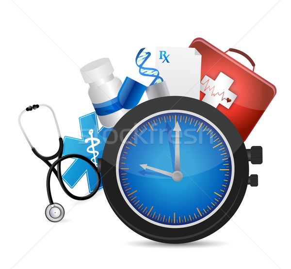 medical time concept illustration design over a white background Stock photo © alexmillos