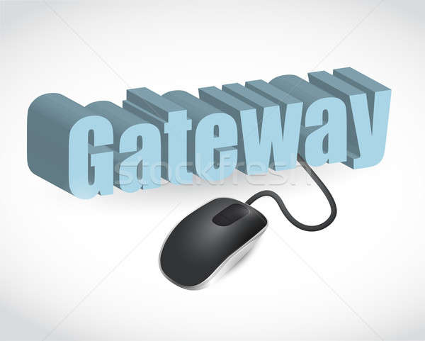 gateway sign and mouse illustration design over white Stock photo © alexmillos