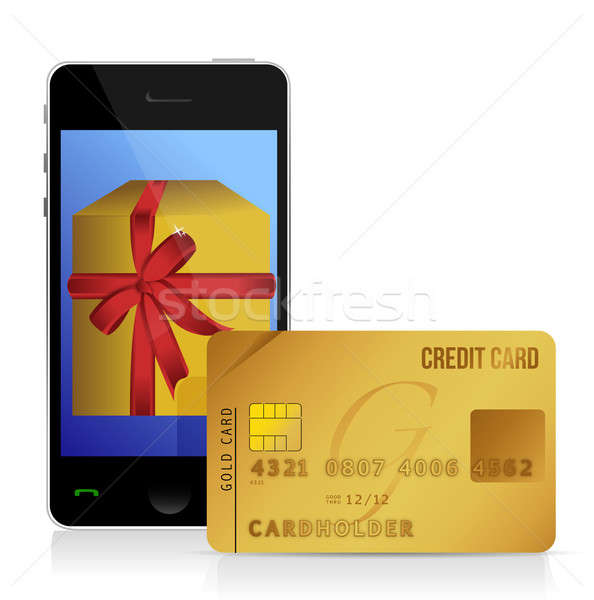 internet shopping with smart phone and credit card illustration Stock photo © alexmillos