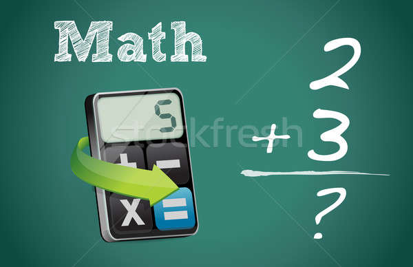 Math blackboard and modern calculator Stock photo © alexmillos