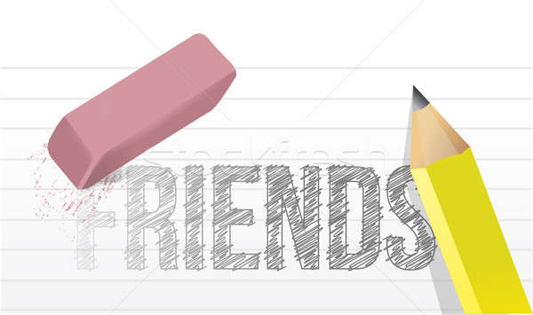 Erasing or deleting friends concept illustration  Stock photo © alexmillos