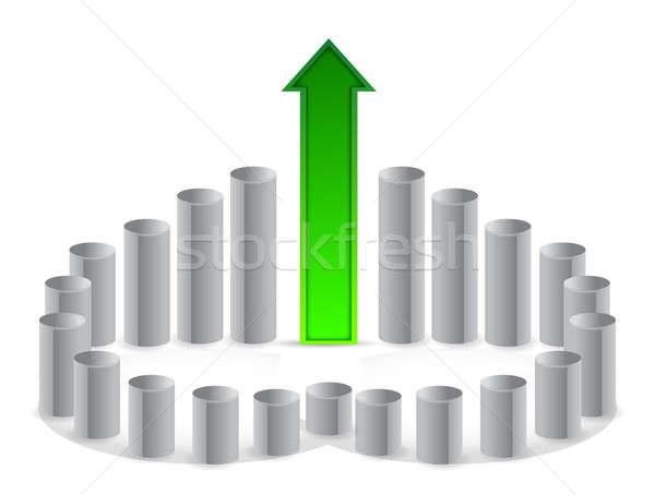 circular continuous graph illustration design over white Stock photo © alexmillos