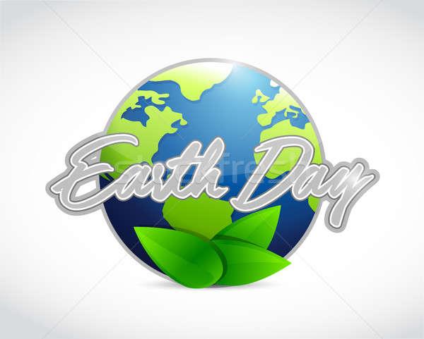 Föld napja földgömb felirat illusztráció terv izolált Stock fotó © alexmillos