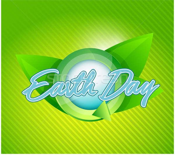 Dia da terra folhas ciclo ilustração verde negócio Foto stock © alexmillos