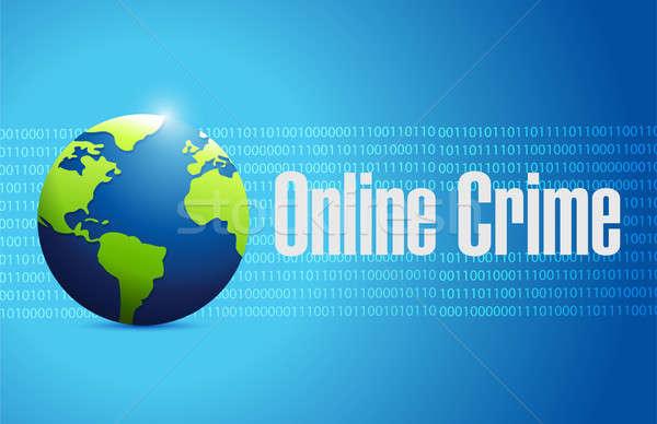 Online bűnözés bináris felirat illusztráció terv Stock fotó © alexmillos