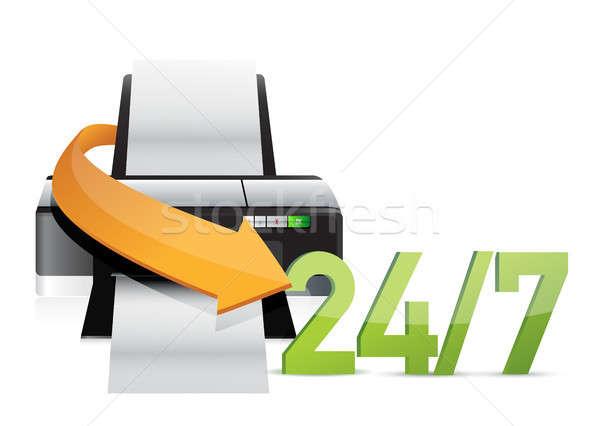 принтер 24 службе поддержки иллюстрация дизайна Сток-фото © alexmillos