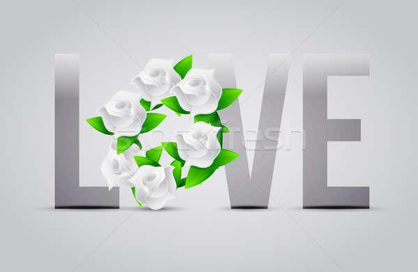 Gri renk sevmek çiçekler örnek tasarımlar Stok fotoğraf © alexmillos