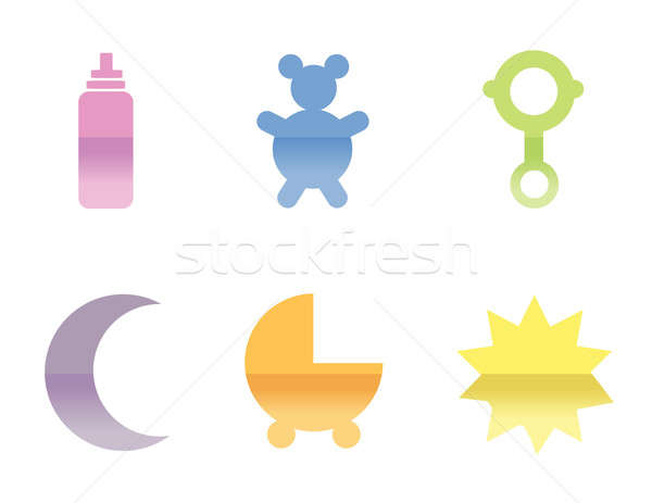 Illustrations of different baby icons, that can be used as a sym Stock photo © alexmillos