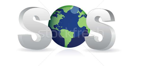 Sos salvar terra mar oceano azul Foto stock © alexmillos