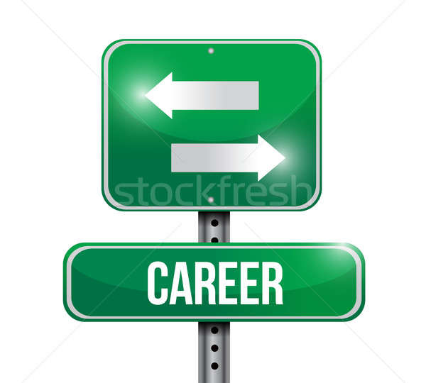 career options road sign illustration design over white Stock photo © alexmillos