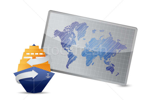 ocean cruise and world map under the white background Stock photo © alexmillos