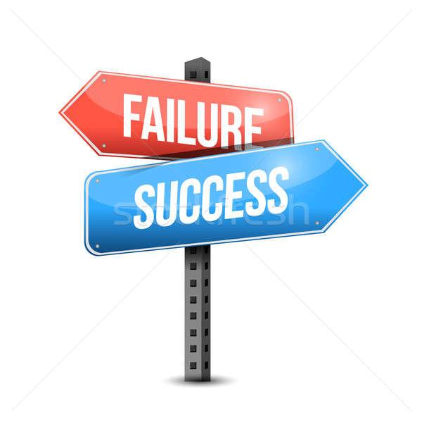 failure versus success road sign illustration design over a whit Stock photo © alexmillos
