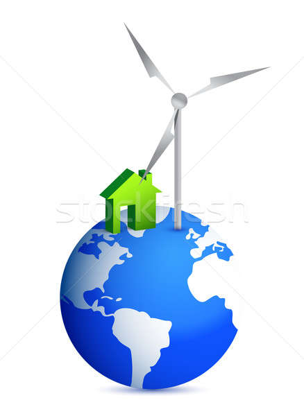 house and windmill globe illustration design over white Stock photo © alexmillos