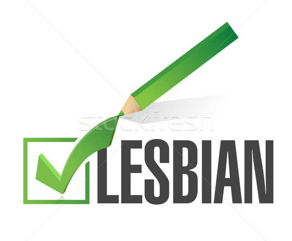 selected lesbian with check mark. illustration design over white Stock photo © alexmillos