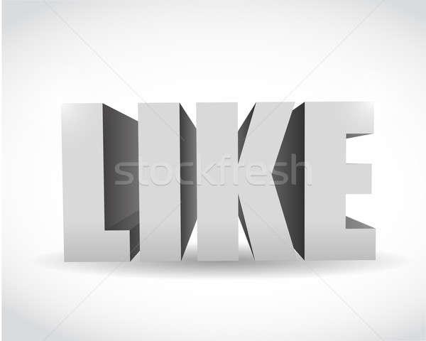 3d social media like text illustration design over white Stock photo © alexmillos