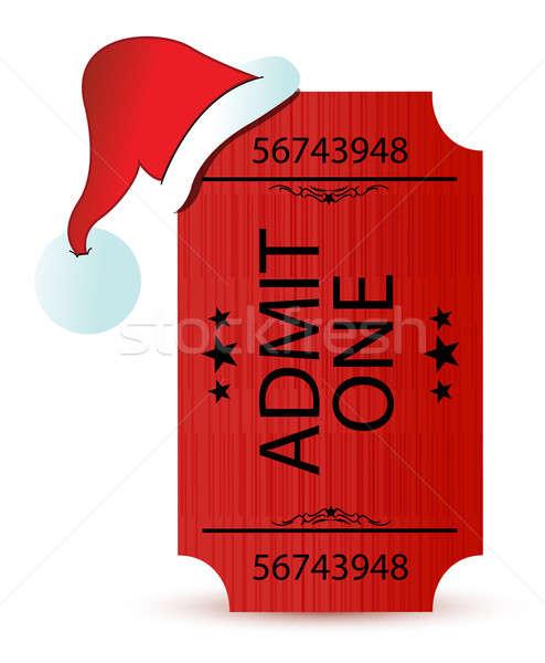 santa's hat and ticket illustration design over white Stock photo © alexmillos